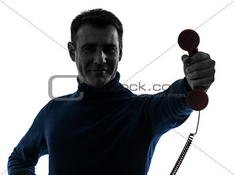 man on the phone silhouette portrait