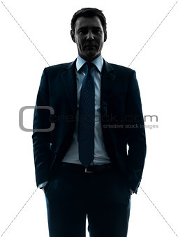 business man hands in pocket silhouette