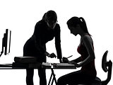 teacher woman mother teenager girl studying silhouette