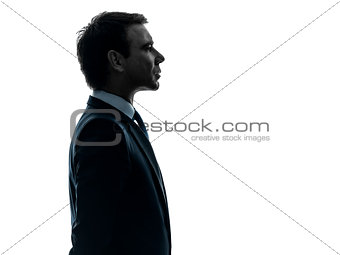 business man serious portrait profile  silhouette