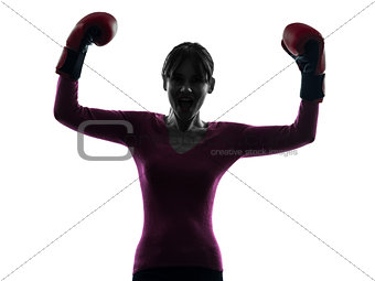 mature woman with boxing gloves silhouette