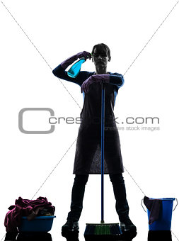 woman maid housework despair overwork silhouette