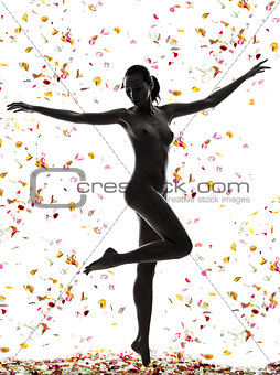 beautiful asian woman naked with flowers petal silhouette