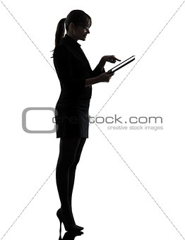 business woman computer computing  typing digital tablet silhoue