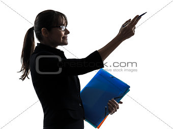 business woman showing pointing   holding folders files silhouet