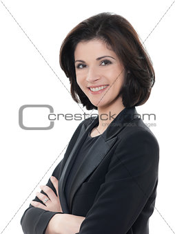 beautiful smiling caucasian business woman portrait arms crossed