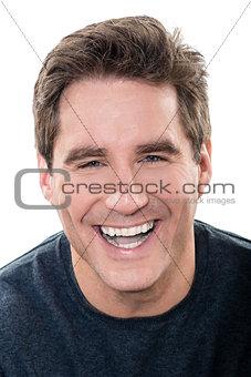mature handsome man laughing portrait