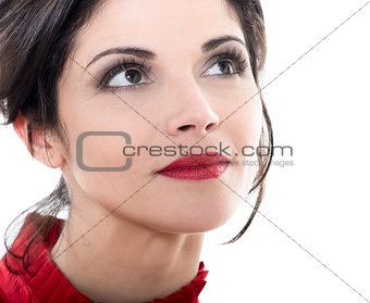 beautiful smiling caucasian woman looking up portrait