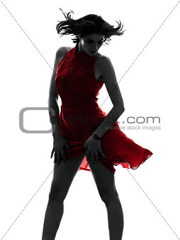 sexy woman in red dress silhouette