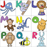 Alphabet with cartoon animals 2