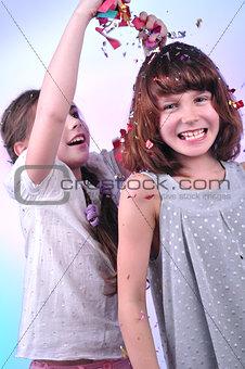 wo joyful children playing and  having fun