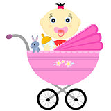baby girl in a carriage