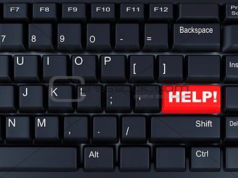 black computer keyboard with the red button help