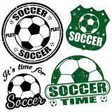 Set of soccer stamps