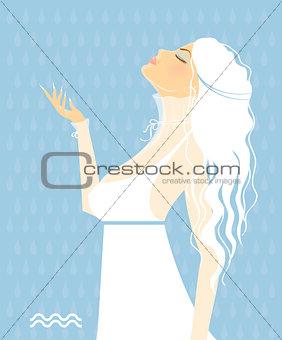 Beautiful girl in white dress - zodiac signs