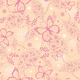 Vector pink Butterflies Among Branches Seamless Pattern Background