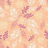 Vector Abstract Leaves Seamless Pattern Background with textured abstract plants on beige background.