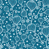 Vector blue underwater abstract plants seamless pattern background