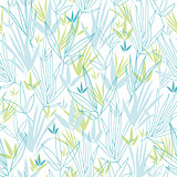 Vector blue bamboo branches seamless pattern background with hand drawn elements.