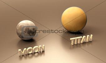 Saturn Moon Titan and Earth Moon