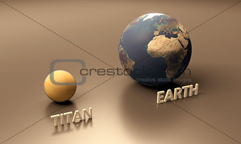 Saturn Moon Titan and Planet Earth blank
