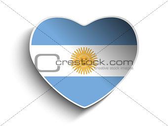 Argentina Flag Heart Paper Sticker