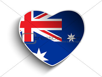 Australia Flag Heart Paper Sticker