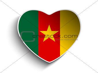 Cameroon Flag Heart Paper Sticker