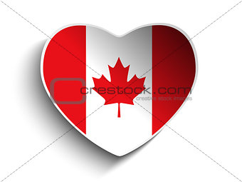 Canada Flag Heart Paper Sticker