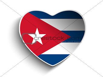 Cuba Flag Heart Paper Sticker
