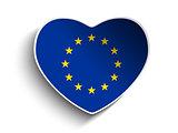 Europe Flag Heart Paper Sticker