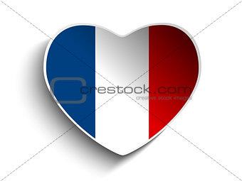 France Flag Heart Paper Sticker