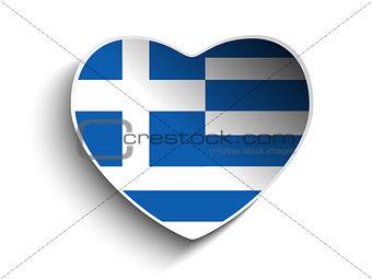 Greece Flag Heart Paper Sticker