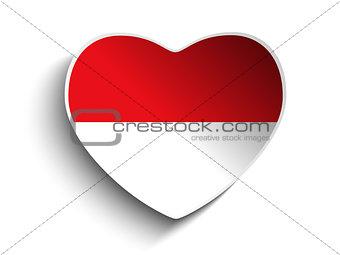 Monaco Flag Heart Paper Sticker
