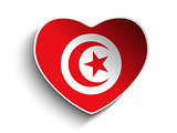 Tunisia Flag Heart Paper Sticker