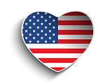 USA Flag Heart Paper Sticker