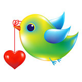 Green Bird With Heart