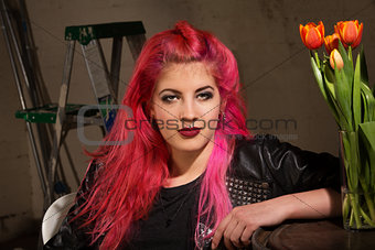 Calm Woman in Pink Hair