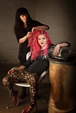 Punk Girl with Hair Stylist