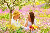 Woman and man on picnic