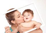 Mother kiss little son