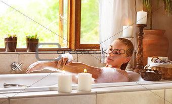 Sensual woman in bathtub