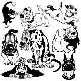 cartoon dogs black white set