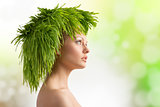 spring girl with ecological hair-style
