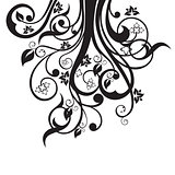 Flowers, leaves and swirls silhouette in black