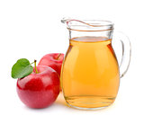 Red apple and apple juice
