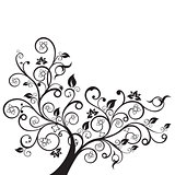 Flowers and swirls design element silhouette in black