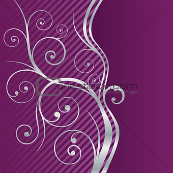 Beautiful fuchsia and silver swirls border