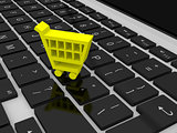 Shopping trolley symbol on keyboard
