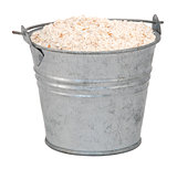 Wholemeal / wheatmeal / brown flour in a miniature metal bucket